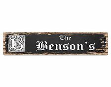 SPFN0332 The BENSON'S Family Name Street Chic Sign Home Decor Gift Ideas