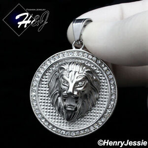 MEN Stainless Steel Silver ICED LION KING FACE 3D Round Charm Pendant*P109