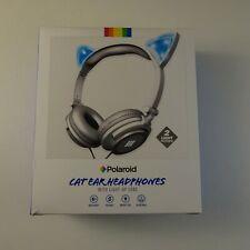 Polaroid White & Blue Cat Ear Headphones Light Up Ears