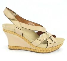 Earthies Womens Sardinia Wedge Strappy Sandals Beige Leather Sz 8.5