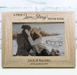 Personalised Wedding Photo Frame Anniversary Engagement Wooden Frame True Love