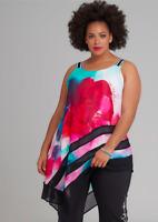 TS Taking Shape Lisa Tunic Floral Chiffon Pattern Sleeveless Top Plus Size L NEW