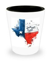 SET of 2! Texas Strong Flag Watercolor White Ceramic Shot Glass NIB Father's Day