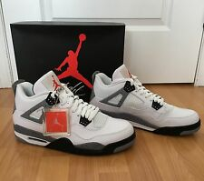 BNWT Men's Nike Air Jordan Retro 4 Basketball Runners Shoes Cement Grey & White