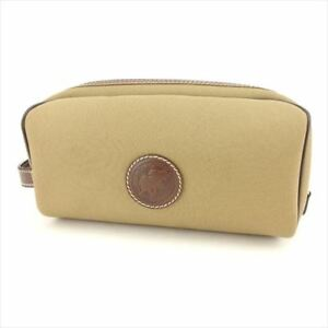 HUNTING WORLD Clutch bag Beige Green Canvas Leather Woman unisex C3270
