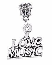 I Love Music Musician Band Teacher Word Dangle Charm for European Bead Bracelets