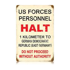 Vintage Style Retro US Personnel Halt Near Berlin Wall Steel Sign 12 in x 18 in