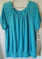 MSRP $59.50 INC Womens Blue Jersey Mesh Inset Pullover Top Shirt Plus Size 1X