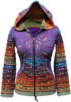 Women Sun Patchwork Hippy Boho Pointy Hoody Cardigan Pixie Goth Festival Jacket