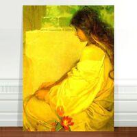 "Alphonse Mucha Girl with Tulips ~ FINE ART CANVAS PRINT 36x24"""
