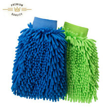 New Pack 2 Thick Super Microfiber Absorbent Car Cleaning Wash Gloves Mitt Cloth