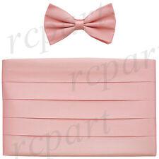 New Vesuvio Napoli 100% Silk Cummerbund and Bowtie Set Formal Party Prom Pink