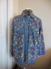 Embroidered Denim Blue Jean Collared Button Up Size S Jacket