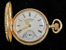 Antique 1888 American Waltham Pocket Watch w/ Solid 14k Yellow Gold Hunter Case
