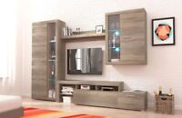 Living room furniture set Tv stand glass cabinet unit light shelf truffle oak