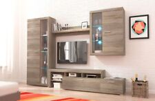 Living room furniture set Tv stand glass cabinet unit light shelf truffle oak