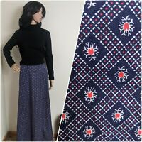 Vintage 70s Cotton Navy Red Ditsy Floral Print Maxi Skirt 8 36