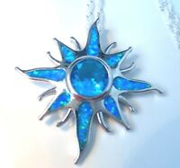 """**NEW**AMAZING STARBURST  BLUE FIRE OPAL 925 SILVER PENDANT+ 20"""" SILVER CHAIN"""
