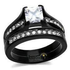 Stainless Steel 2.10 Ct Princess Cut Zirconia Brown Wedding Ring Set Womens 5-10