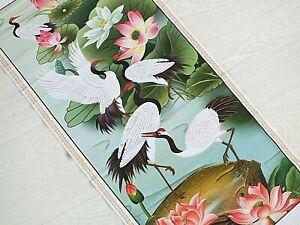 CHINESE BAMBOO CANE FENG SHUI WALL HANGING SCROLL PICTURE CRANE BIRD LOTUS 9-6