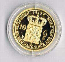 ZILVEREN PROOF replica- 10 GULDEN GOUD 1828 in capsule + certificaat