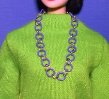 Barbie Dreamz PURPLE and GOLD HOOP RINGS Mod XTRA LONG NECKLACE Doll Jewelry