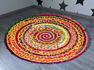 Indian Braided Bohemian patchwork Jute Area Rug Round Rug Rug Home Decor Rugs