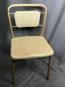 Vintage Cosco Fashionfold Folding Metal Chair Padded Seat Made In USA