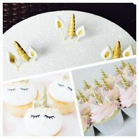 12 edible Set 3D Unicorn cupcake horn ears gold kit cake topper Decoration horse