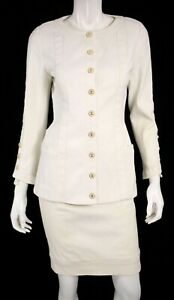 CHANEL Vintage White Cotton Denim CC Logo Button Skirt Suit 36
