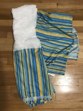 Blue & Yellow Striped Twin Size Dust Ruffle Bed Skirt - Never Used
