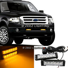 Yellow / Amber 12 LED Emergency Hazard Flash Warning Beacon Strobe Light Bar C97