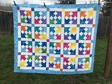 """New Bright Colorful Light Blue Handcrafted Baby /Lap / Crib Quilt 47"""" X 56 """""""