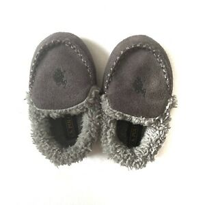 US Polo Association sherpa lined toddler slippers, Gray, Size 5/6