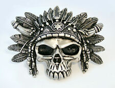 Headhunter Skull Belt Buckle Alchemy Gothic Indian Chief Fine Pewter Buckle