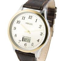 Elegante Bicolor Herren Funkuhr (deutsches Funkwerk) Armbanduhr Leder 964.4811