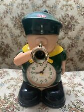 Vintage Green Boy Scout figure quartz ALARM CLOCK 8inches