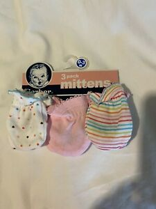 Gerber Baby Girl 3-Pack Pink/Dots/Stripes Mittens Size 0-3M