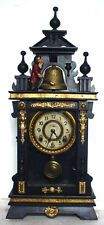 Antique Animated Monk Striking Glass Panel Brass Decorated Carved Mantle Clock