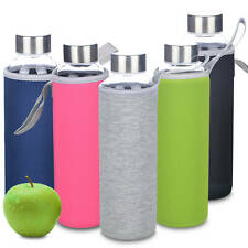 1x Multi-colored Heat Resistant Glass Travel Tumbler Drink Bottle w/ Tote 540ml