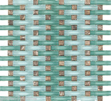 SAMPLE- Ocean Blue WAVY Glass Emperador Dark Mosaic Tile Mix Kitchen Backsplash