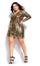 City Chic Bright Lights Gold Dress Sz S