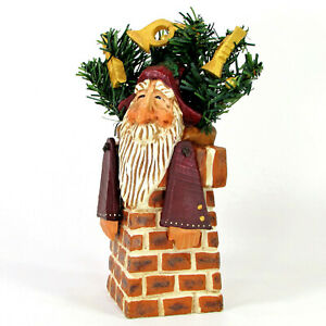 "David Frykman SANTA IN CHIMNEY 8.5"" Figurine Gold Horns Evergreen DF1310 1998"