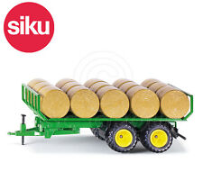 SIKU NO.2891 1:32 Scale GREEN TRAILER WITH 15 ROUND BALES Dicast Model / Toy