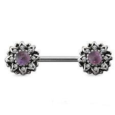 "Nipple-PAIR-Sunburst w/Amethyst Gem 14 Gauge 9/16"" Barbells Steel Body Jewelry"