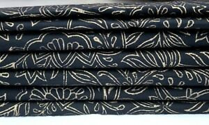 Indian Handmade New Black & Gold Beautiful Floral Hand Block Printed Fabric 3 YD