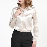 Lady Faux Silk Satin Shirt Long Sleeve Button Down Formal Work OL Blouse Top New