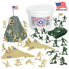 TimMee Processed Plastic BUCKET of ARMY MEN 54pc Tim Mee Vehicles Soldiers Flags