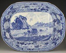 Antique Pottery Pearlware Blue Transfer Minton Monk's Rock Tenby Platter 1820