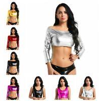 Women Fashion Metallic Tank Top Bustier Vest Blouse Off-Shoulder Crop Tops Shirt